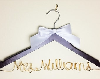 Wedding Hanger Wire on Dark Brown Wood with Mrs Last Name- Rose Gold, Gold, Silver