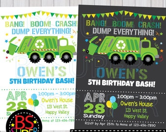 Garbage Truck Birthday birthday invitation, Garbage Truck Birthday Invite, Garbage party, Recycle truck party