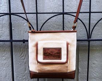 Vintage corduroy and faux leather cross-body messenger bag, saddle bag, beige bag, faux leather bag