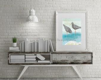 SandPiper Water Bird art print. Sandpiper poster. Nautical bird print. Coastal Print. Nautical wall art. Bird wall decor. Nautical decor.