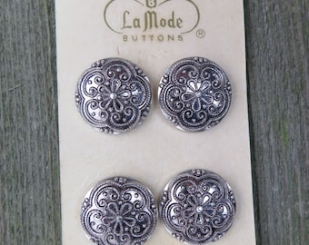 Vintage Button Card, Sewing Buttons, Replacement Buttons, Craft Supply, Retro, Collection, Antique, La Mode, Silver, Metal