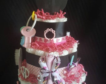 Baby Minnie Mouse 3 tier Diaper Cake Loaded  baby items/Minnie theme/Disney cake/its a girl/Centerpiece/babyshower/pink