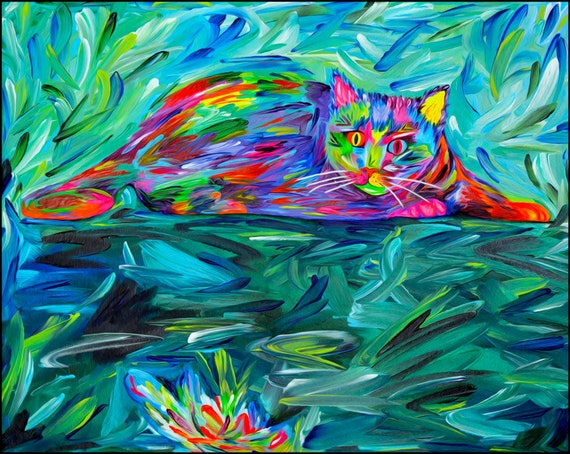 "Cat Wall Art - Cat Lady Gift, Abstract Cat Art Print of My Cat Painting ""The Hunter"", Colorful Cat Portrait, Cats Decor, Cat Lover Gift."