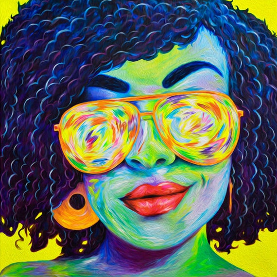 Pop Art Psychedelic Sister Art Print. Ethnic Woman Art with Sunglasses, Natural Hair, and Bold Red Lips. Natural Hair Art. Pop Art Prints.