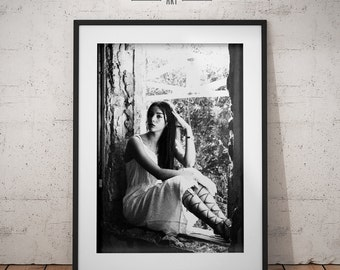 Art Print. A woman waiting by the window. Black & White, grain, a light from outside, hope. Wall art. Home decor. Wall decor. Photography.