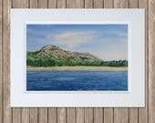 Beehive Mountain & Sand Beach Watercolor Painting - Ocean Drive, Acadia National Park, MDI - Original Maine Artwork by Beth Whitney
