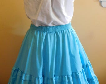 Partners Please Malco Modes Square Dance Top and Skirt Rockabilly Westernwear Circle Skirt Turquoise Circle Skirt Ruffled Dancing Skirt