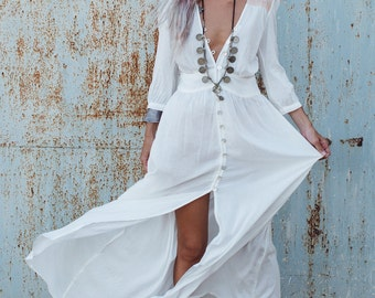 Bohemian Clothing, White Long Dress ,Button Dress, White Maxi Dress With Sleeves, Boho Dress, Fashion Dress