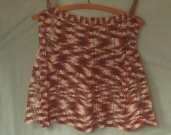 Vintage Variegated Brown Crochet Apron