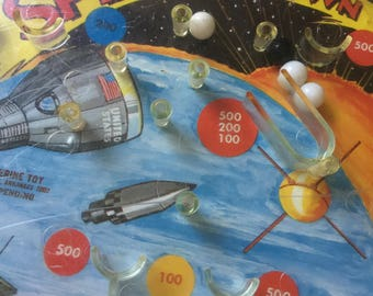 Vintage Midcentury SPLASHDOWN Space-Age Pinball Game by Wolverine Toy Inc.