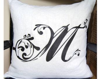 Monogram Farmhouse Pillow. Custom Pillow. Housewarming Gift.