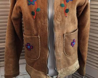 Vintage Beaded Leather Fringe Jacket ~ Hippie Jacket, Women's Leather Coat, BoHo Jacket, Vintage Jacket, Vintage Leather, Festival Fashion