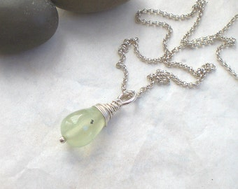 Green prehnite drop necklace - sterling silver chain - light green briolettes - gemstone drop necklace - 925 silver (f219)