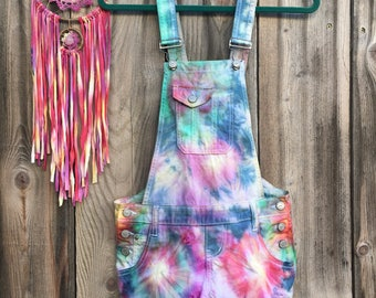 One of a Kind Hand Dyed Rainbow Tie-Dye Overalls Size XS-1 tree is planted with every purchase