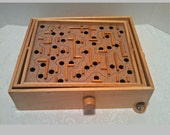 Vintage Wood Space Tilt Labyrinth Game in Original Box by Pleasantime Games, Pacific Game Company, Mid Century, Circa 1960s