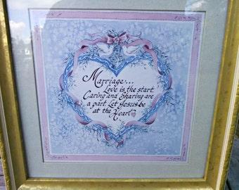 Vintage Framed Print, Christian Marriage Heart, Antique Gold Wood Frame, Light Gray Mat, Circa 1995