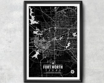 FORT WORTH Texas Map with Coordinates, Fort Worth Map, Map Art, Map Print, Fort Worth Print, Fort Worth Art, Fort Worth Wall Art, Map, Art