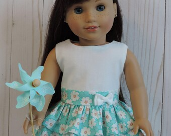 Aqua Floral Ruffle Dress for American Girl and other 18 Inch Dolls
