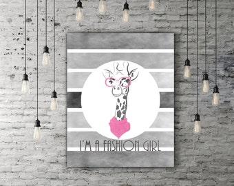 Pastel Pink Nursery Art Animal, Baby Giraffe Print, Fashion Girl Nursery Decor, Black Pink Gray Nursery, Little Girl Gift, Little Girl Art