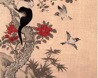 "1923, Japanese vintage Woodblock print, Wan Shan Chin Chung ""Red Flowers"""
