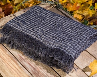 Pure linen blanket, black and white pattern 100% linen bed throw