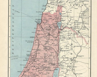 1940s  map  of  palestine   antique map vitage wqll decor