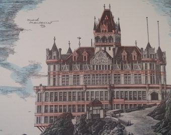 Hand-colored Lithograph by Mark Monsarrat of the Cliff House
