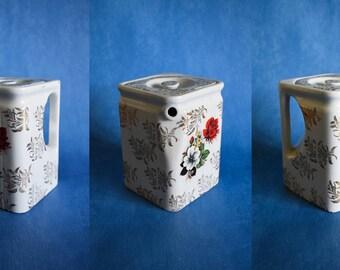 Vintage Teapot, Rare White Rectangular Teapot, Teapot With Flower Print, Housewarming Gift