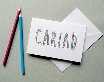 Cariad Beloved Welsh Card. Typography Adult Colouring. DIY Personalised Greetings Card. Colouring Book Romantic Love Card. Fathers Day Card.