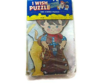 Vintage Cowboy Puzzle, I Wish Puzzle, 2 Sided Puzzle, Larami Puzzle, New Old Stock