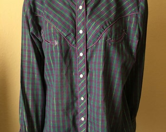 Vintage Western Shirt Plaid Purple Green Gold Mother of Pearl Snaps Long Sleeve by Oak Hill