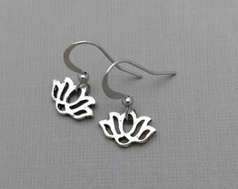 Lotus Charm Earrings, Tiny Lotus Jewelry, Petite Jewelry, Yoga Earrings, Flower Earrings, Lightweight Jewelry