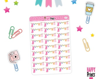 H162 -- Laundry Banner Stickers, Planner Stickers