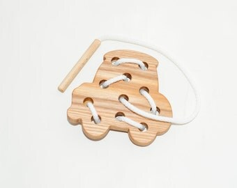Wooden lacing car toy, Educational toy, Montessori toys, Organic toy, Toddler activity, Natural eco friendly, Learning sewing toys