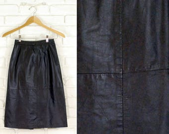 80s High Waist Leather Knee Length Skirt Size Small S 2