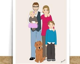 Custom Family Portrait - Family Drawing – Custom Family Illustration- Personalized Family Gifts For Mom – Family Art- Digital Printable