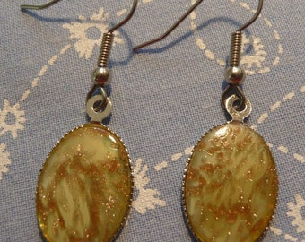 Simple Oval Vintage Olive and Gold Sparkle Cabochon Drop Earrings