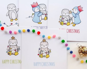 Christmas Cards MultiPack of 5 Hand Drawn Penguin Cards | Cute Christmas Card Packs, Fun Christmas Cards, Penguin Greetings Cards