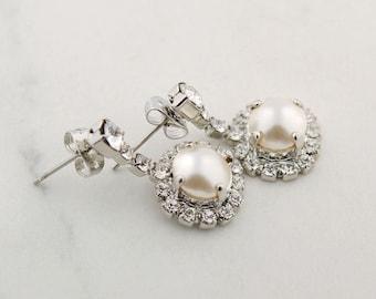 Pearl drop earrings - wedding earrings - pearl earrings - Claudine earrings