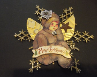Snowbaby Angel Christmas Ornament Vintage Look Handmade Paper Ephemera Merry Christmas