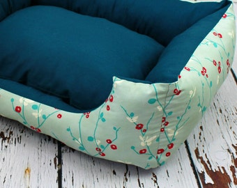 Dog bed, cat bed, mint green, petrol blue, butterflies, japan, style, cozy, dog, cat, pet, sleeping, pillow, cuddly