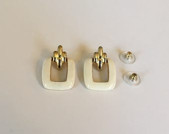 Vintage Daria White Enamel and Gold Tone Modern Dangle Post Earrings Signed