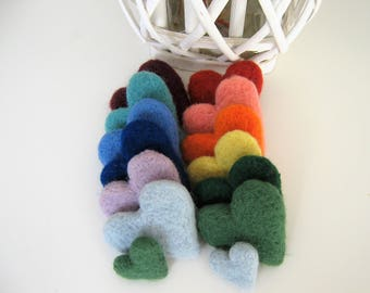 Wool felt hearts, wool felt balls, jumbo large wool felt hearts, 3cm felt hearts, multicolor felt hearts, color mix and match, felted hearts