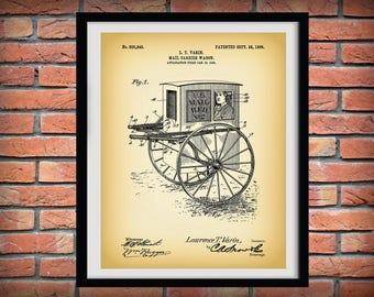 1905 Mail Wagon Patent Print - Art Print Poster - Wall Art - Home Decor - Mail Carrier - Mailman Rural Route Delivery - Postal Carrier Print