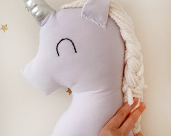 Unicorn plush decorative pillow, lavender nursery decor unicorn cushion stuffed animal for baby kids room, birthday gift for baby girls