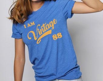 Vintage Graphic Tee - Vintage Tshirt - Blue & Gold