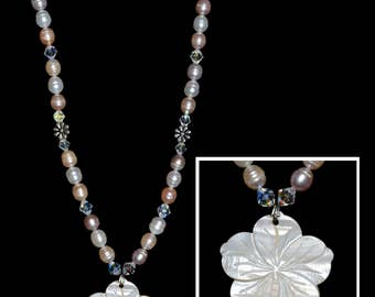 Pearl and Vintage Crystal Necklace with Mother of Pearl Pendant