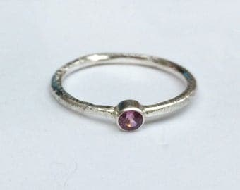 Silver stacking ring/tiny silver ring/stone stacking ring/sterling silver ring/stone ring/pink garnet ring/ pink rhodolite ring/pink stone