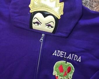Villains Inspired Hoodie Zip Jacket -Kids thru Adult Sizes - Evil Queen, Maleficent, Cruella De Vil, Queen of Hearts, Ursula