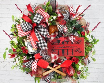 Chef Wreath, Chef Welcome Wreath, Kitchen Wreath, Everyday Wreath, Tuscan Kitchen  Decor, Welcome Wreath, Fat Chef Decor, Kitchen Chef